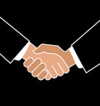 business handshake icon on black background vector image