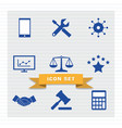 business icon set flat style vector image vector image