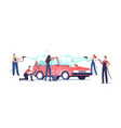 car wash service concept workers characters vector image vector image