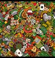 cartoon cute doodles hand drawn casino seamless vector image
