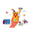 characters use online food delivery service hand vector image