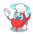 chef helicopter character cartoon style vector image