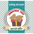 Christmas sale design with teddy bear vector image vector image