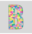 Color Piece Puzzle Jigsaw Letter - B vector image