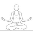 continuous line art drawing woman meditating vector image vector image