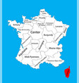 corsica map france map vector image vector image