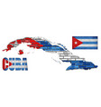 cuba flag elements collection vector image vector image