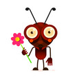 cute ant stands on two paws and waves his hand vector image vector image