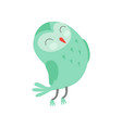 cute funny cartoon green owlet bird character with vector image