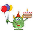 cute green monster holding up a colorful balloons vector image vector image