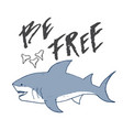 cute shark hand drawn sketch t-shirt print design vector image