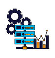 database server chart and gears vector image vector image
