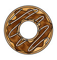 donut with chocolate glazed in colored crayon vector image vector image