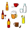 Drinks alcohol and beverages icons vector image vector image