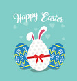 easter decorative eggs with a hidden white bunny vector image
