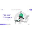 elderly woman with device website landing page vector image