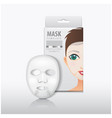 facial sheet mask with white paper box vector image vector image