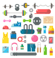 Flat design of gym items set vector image vector image
