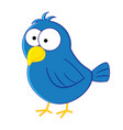 funny cartoon blue bird vector image vector image