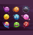 funny cartoon colorful emoji planets set vector image vector image