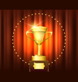 golden trophy cup winner emblem vector image