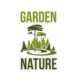 green forest trees icon for garden ecology vector image vector image