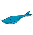 happy blue long whale on white background vector image vector image