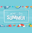 hello summer with decoration origami on blue vector image vector image