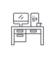 home computer desk line icon concept home vector image