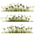 horizontal lines of silhouettes coniferous wood vector image vector image