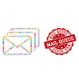 mail queue composition of mosaic and scratched vector image