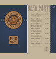 menu for beer pub on denim background with price vector image vector image