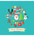 Merry Christmas Card with Flat Icons over Blue vector image