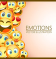 modern yellow laughing three emoji emotions vector image vector image