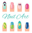 nail art collection poster vector image vector image