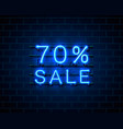 neon 70 sale text banner night sign vector image vector image