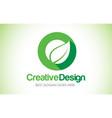 o green leaf letter design logo eco bio leaf vector image vector image