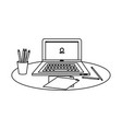 outline office laptop with papers and pencils in vector image