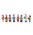 people holding gift present boxes merry christmas vector image