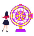 playing fortune wheel spinning roulette vector image vector image