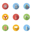 Production of energy icons set flat style vector image vector image