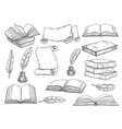 retro books and literature quills sketch vector image vector image
