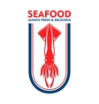 Seafood restaurant retro icon with european squid vector image vector image
