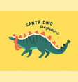 stegosaurus dressed as santa claus vector image vector image