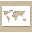 stencil template of world map on wooden background vector image vector image