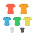 T-shirt design templates in various colors vector image vector image