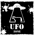 ufo zone cow logo on black background vector image