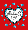 valentines day handwriting word in glass heart vector image vector image