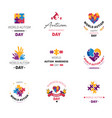 world autism day isolated icon puzzle and hands vector image vector image