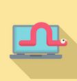 worm laptop icon flat style vector image